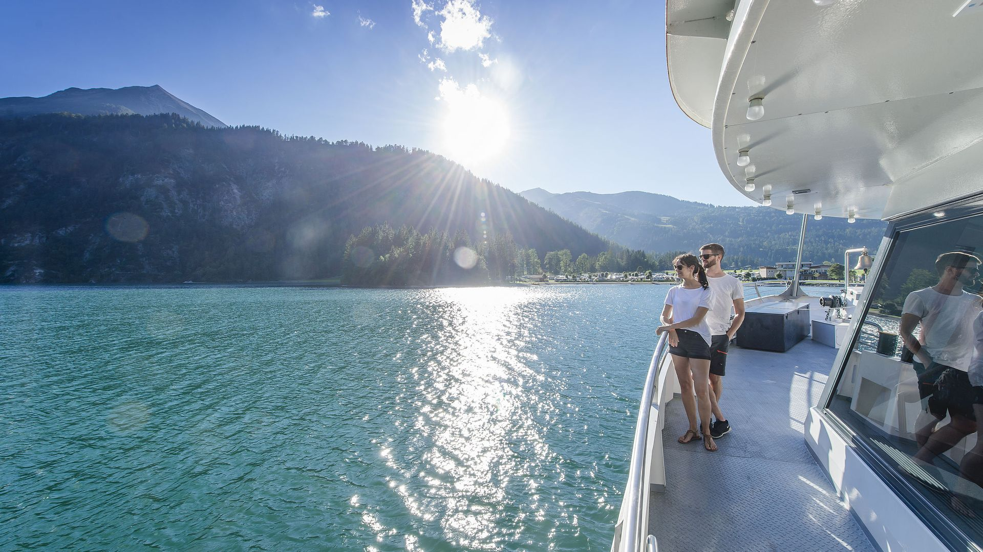 With a ship on Lake Achensee
