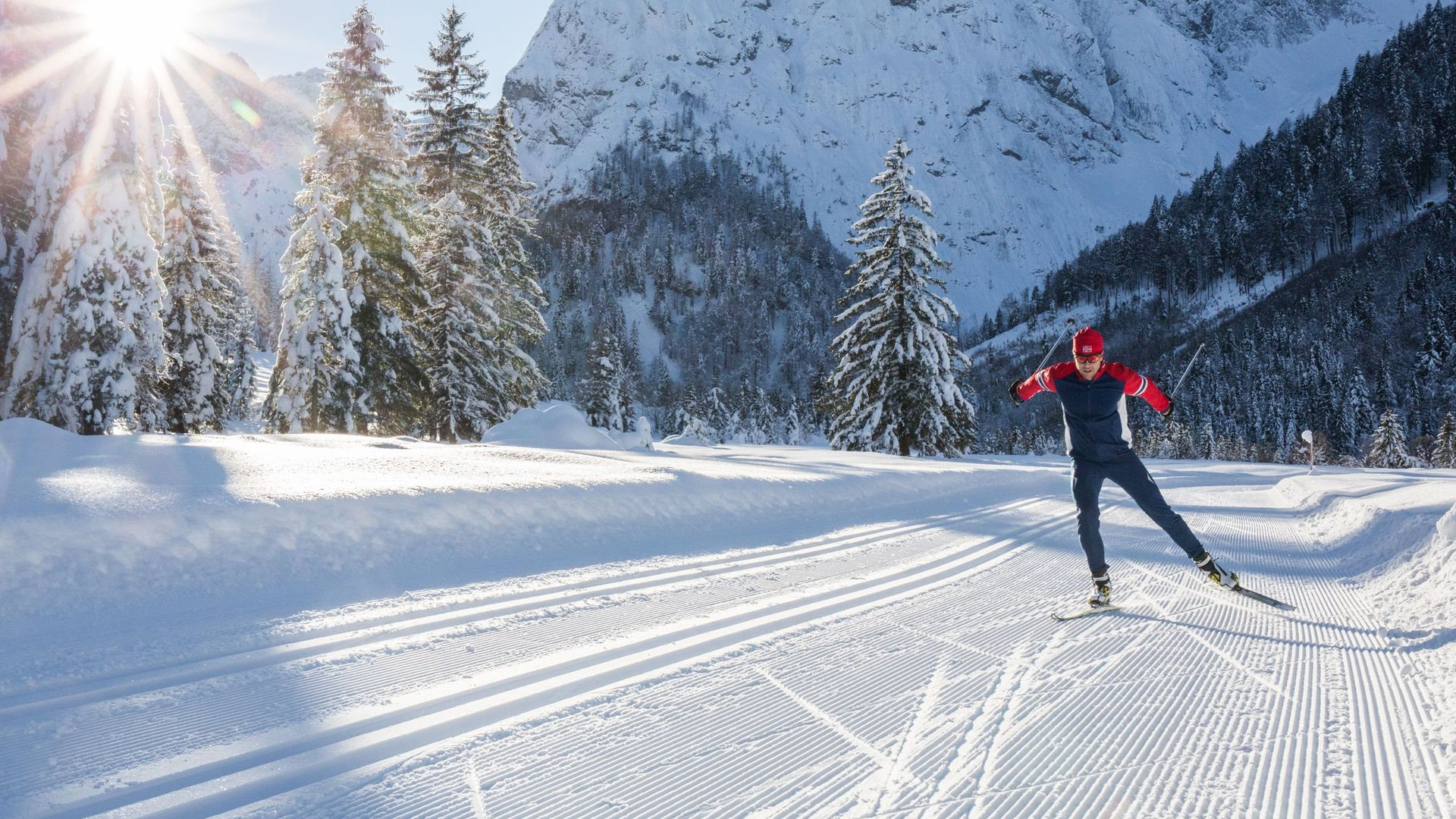 Cross-country skiing in a winter landscape near the hotel in Maurach