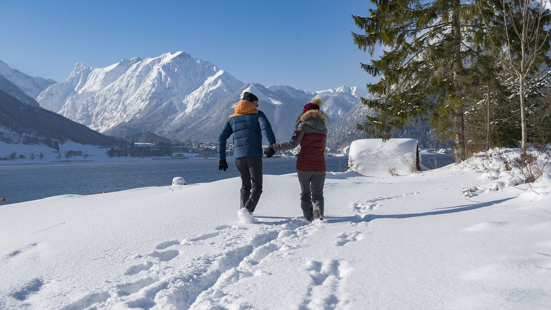 Winter hiking at Lake Achensee